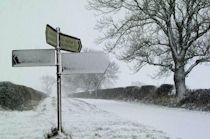 snowy conditions on rural road