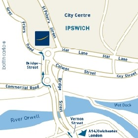 Map showing location of Novotel Hotel, Grey Friars Road, Ipswich