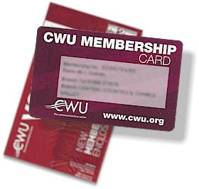 New CWU Membership card, issued with the June / July 2014 copy of VOICE.